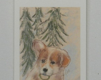 Corgi Puppy Dog Art Christmas Holiday Gift Tags By Cori Solomon