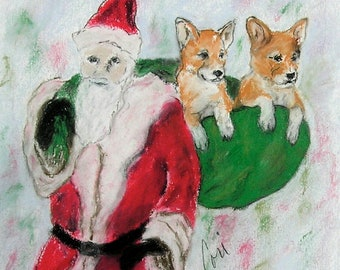 Pemborke Welsh Corgi Puppy Dog Art Christmas Holiday By Cori Solomon
