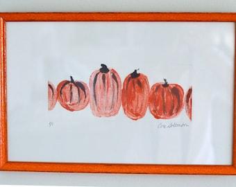 Pumpkin Art Hand Pulled Print Monotype Framed by Cori Solomon