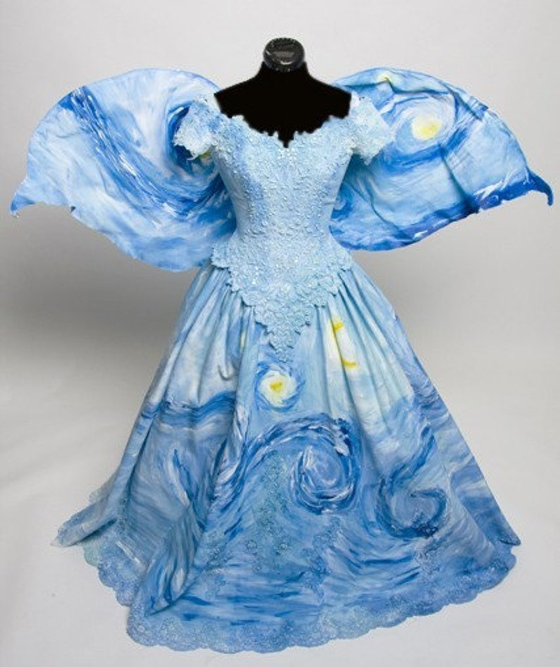 Starry Night Fairy dress Inspired by Vincent Van Gogh Painting image 0