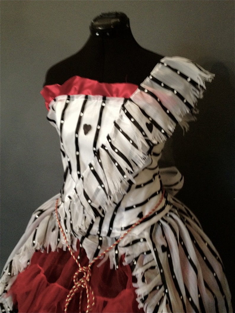 Alice in Wonderland Red Um Dress Recreation Costume image 0