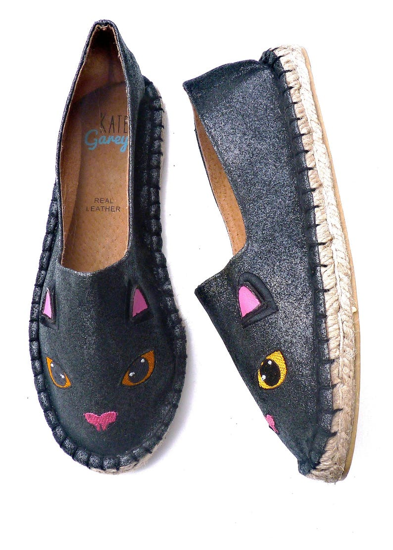 Black Cat Glitter Espadrilles