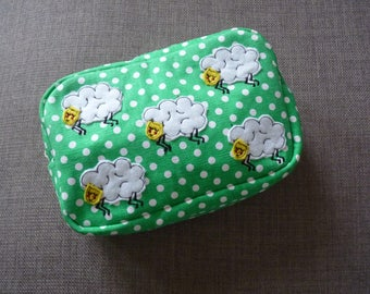Little Sheep Green Polka Dot Cosmetic bag
