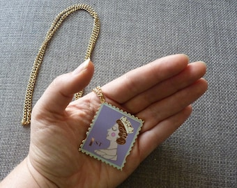 Enamel 1st Class Stamp Necklace