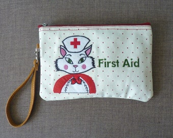 Nurse Kitty First Aid Cosmetic Pouch / Clutch