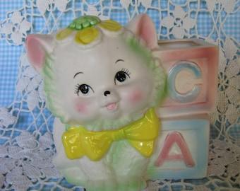 VINTAGE CAT PLANTER Pottery 1950s Shabby