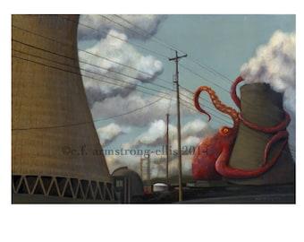 Nuclear Power vs Giant Octopus Print