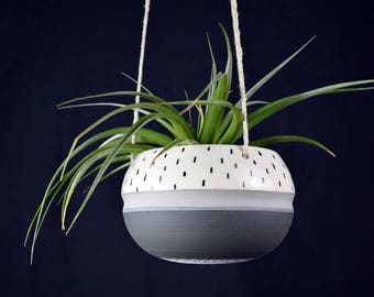 Minimal Greyscale Planter // Grey, Black and White Hanging Planter with Dots // Handmade Ceramic Hanging Planter // Made to Order