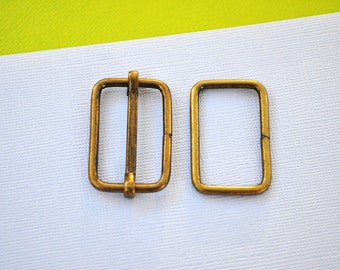 FREE SHIPPING--20 sets, 1 1/4 inch Anti Brass Strap Sliders and 1 1/4 inch Anti Brass Rings