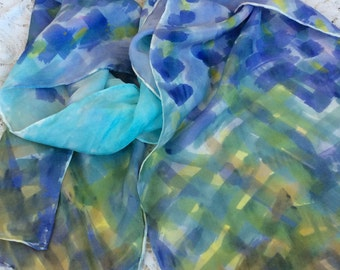 Hand Painted with Dye, Lavender Inspired Silk Scarf