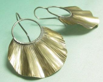 Mixed Metal Earrings, Sterling Silver Ruffle Bronze Earrings, Large Earrings, Shield Earrings, Contemporary Earrings, Metalsmith Jewelry