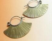 Tribal Brass Fan Earrings, Mixed Metal Hoop Earrings, Textured Contemporary Earrings, Metalwork Jewelry, Rustic Earring