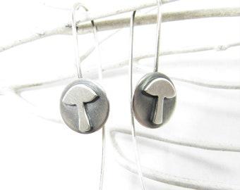 Lightweight Argentium Sterling Silver Mushroom Earrings, Whimsical Fungus Jewelry