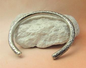 Chunky Sterling Silver Open Bangle Bracelet, Heavy Solid Silver Cuff, Silversmith Jewelry, Unisex Bracelet