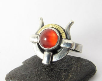 Sterling Silver, 18K Gold And Carnelian Ring, Goddess Hathor Ring, Made To Order Ring, Egyptian Jewelry
