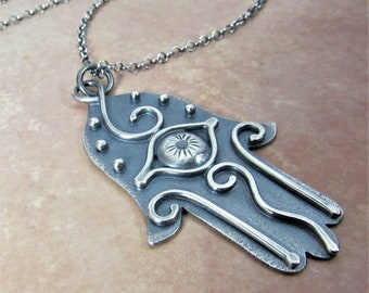 Argentium Sterling Silver Hamsa Necklace, Metalsmith Evil Eye Jewelry, Hand Of Fatima Pendant