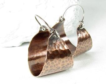 Rustic Hoops, Hammered Copper Earrings, Mixed Metal  Basket Hoop Earrings, Sterling Silver And Copper Jewelry
