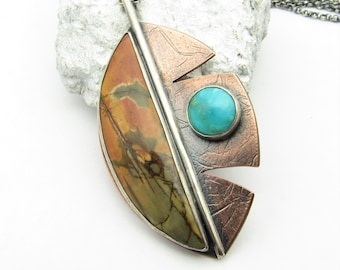 Cherry Creek Jasper And Turquoise Leaf Necklace In Sterling Silver And Copper, Mixed Metal Pendant, One Of A Kind Artisan Jewelry