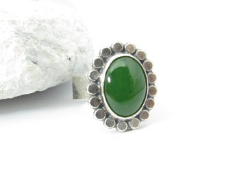 Size 7.5 Sterling Silver And Nephrite Jade Ring By Mocahete, Deep Green Stone Ring, Artisan Jewelry