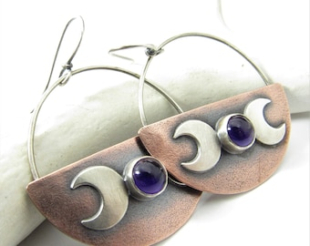 Triple Goddess Earrings, Mixed Metal And Amethyst Earrings, Copper And Sterling Silver Crescent Moon Earrings