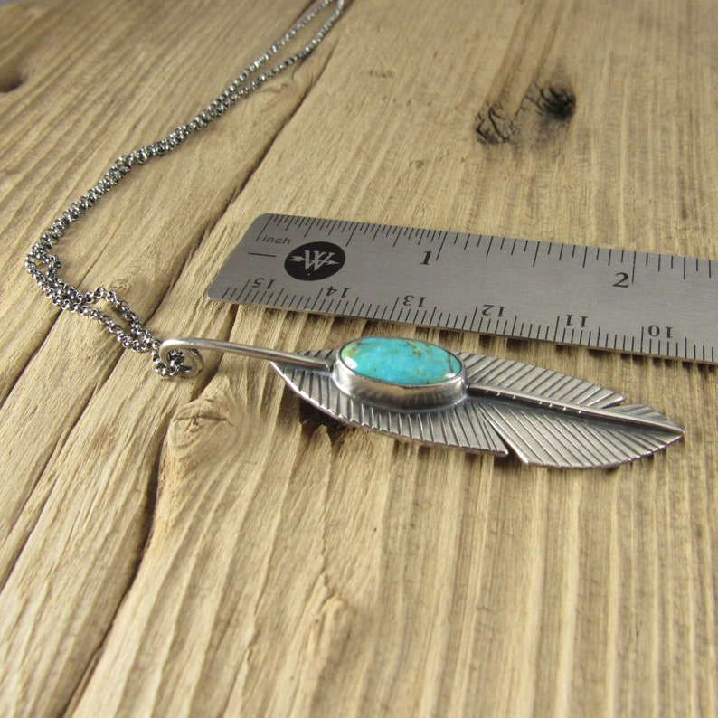 Southwestern Handcrafted Artisan Jewelry Sterling Silver Feather Necklace Turquoise Pendant