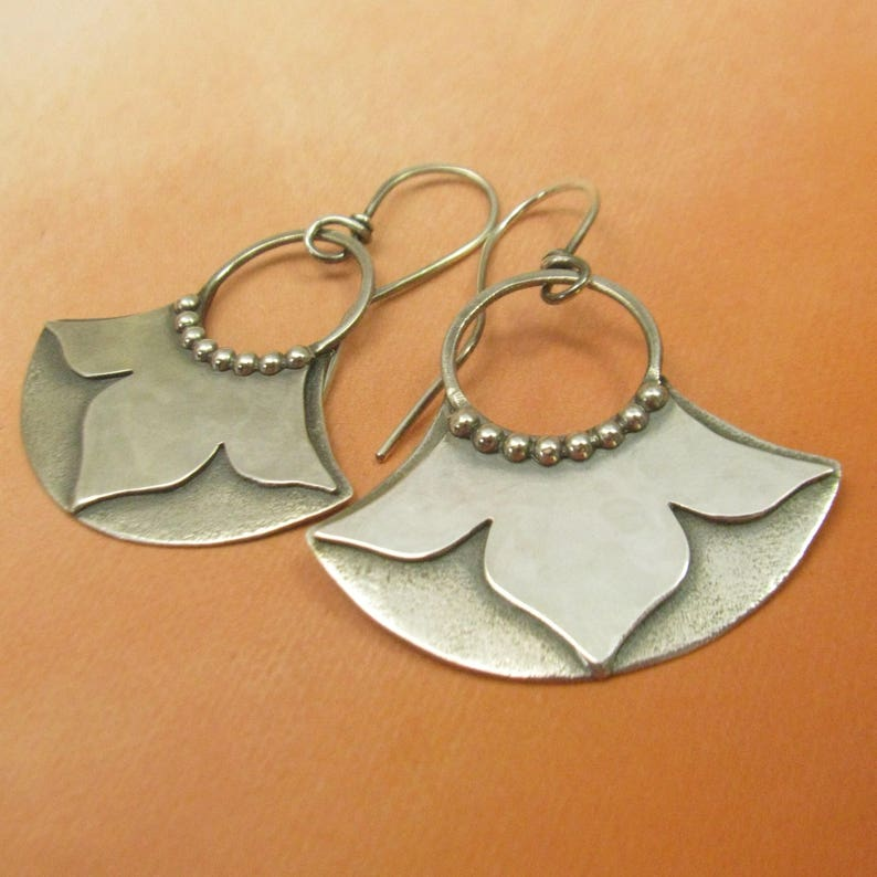 Romantic Bridal Or Special Day Earrings Sterling Silver Lotus Earrings Bohemian Jewelry Flower Design