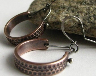 Casual And Contemporary Copper And Sterling Silver Mixed Metal Dangle Earrings, Handcrafted Metalsmith Artisan Jewelry By Mocahete
