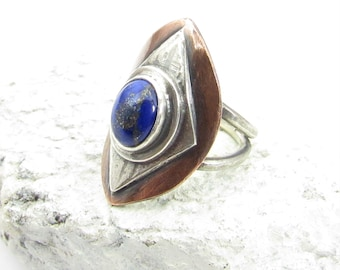 Size 7.75 or 8 Mixed Metal And Lapis Saddle Ring, Two Tone Sterling Silver And Copper Ring With Blue Stone, Statement Ring