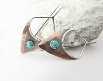 Turquoise And Copper Pixie Earrings, Rustic Sterling Silver And Copper Earrings