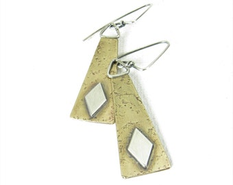 Geometric Mixed Metal Earrings, Contemporary Diamond Shape And Trapezoid Sterling Silver And Bronze Earrings