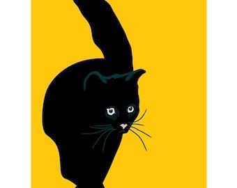 Black cat print, 9 x 12.5