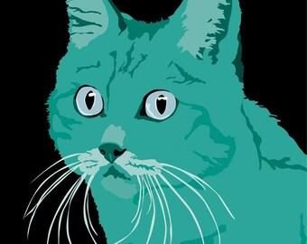 Green Cat print, 9 x 12.5