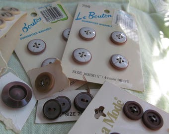 buttons, buttons, buttons,  vintage brown, tan and ecru buttons, cards and partial cards