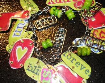 Tin Can Art Bracelet  Create Love Happy Karma Peace and Bliss