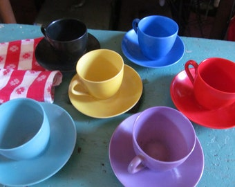 6 Vintage Czech demitasse cups and saucers, Victoria China,all colors, great condition