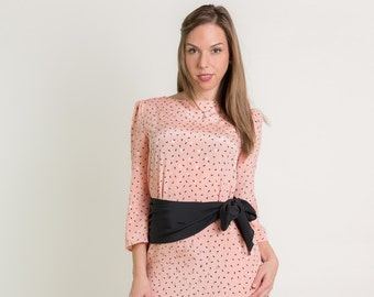 Vintage Peach And Black Paisley Sash Dress (Size Medium)