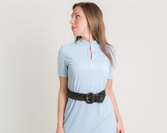 Vintage Light Blue Sun Burst Neck Shift Dress (Size Medium)
