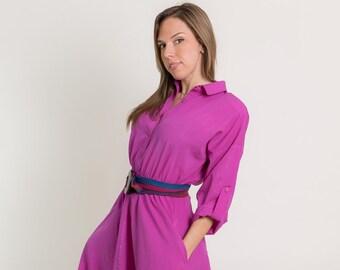 Vintage Fuchsia Belted Shirt Waist Dress (Size Medium)