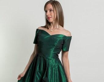 Vintage Satin Emerald Green Off Shoulder Party Dress (Size Medium)