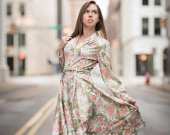 Vintage Pink And Green Floral Belted Dress (Size Medium)