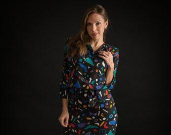 Vintage Colorful Sheer Confetti Dress (Size Medium)