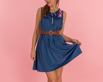Vintage Navy Blue Pink Floral Embroidered Nylon Dress (Size Medium)