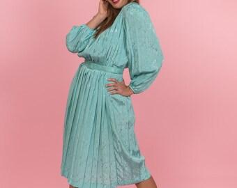 Vintage Sea Green Pleated Dress (Size Medium)