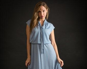 Vintage Baby Blue Tie Neck Dress (Size Small/Medium