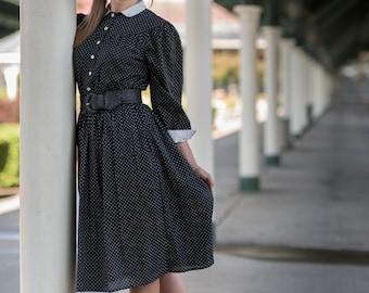 Vintage Black And White Polka Dot Dress (Size Medium)