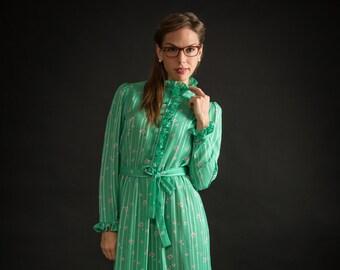 Vintage Sheer Sea Green Ruffled Neck Dress (Size Medium)