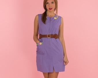 Vintage Lavender Embroidered Shift Dress (Size Small/Medium)