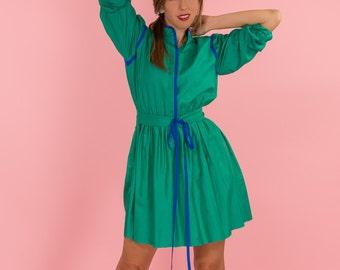 Vintage Silk Teal Green And Blue Shirt Waist Dress (Size Medium/Large)