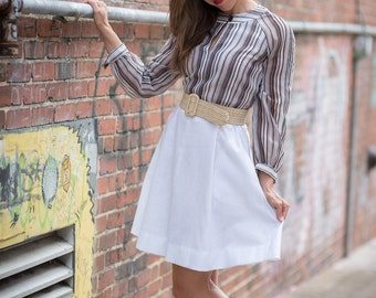 Vintage Chocolate Brown And Vanilla Striped Dress (Size Small)