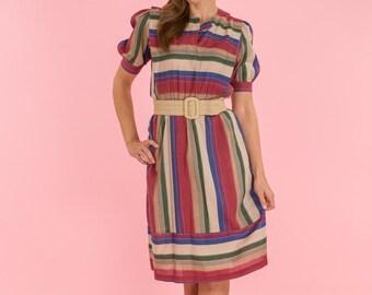 4e7b2f47f4f3 Vintage Jewel Toned Striped Fold Dress (Size Medium)